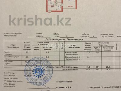 1-комнатная квартира, 49.2 м², 3/6 этаж, Алихана Букейхана 27 — Рыскулова за 21 млн 〒 в Нур-Султане (Астана), Есиль р-н