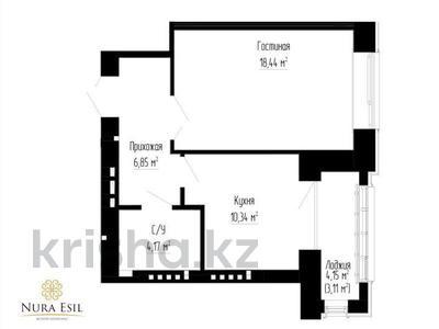 1-комнатная квартира, 42.9 м², 4/6 эт., 38 21/1 за ~ 15 млн ₸ в Астане, Есильский р-н