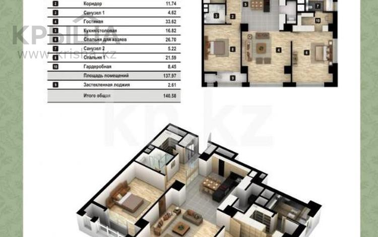 3-комнатная квартира, 140 м², 12 этаж, Рақымжан Қошқарбаев проспект за 65 млн 〒 в Нур-Султане (Астана)