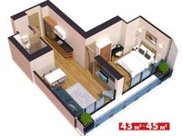 3-комнатная квартира, 43 м², 18/45 этаж