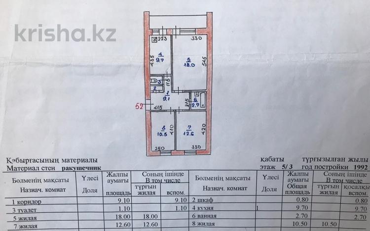 3-комнатная квартира, 65 м², 3/5 этаж, 22-й мкр 17 за 11.5 млн 〒 в Актау, 22-й мкр