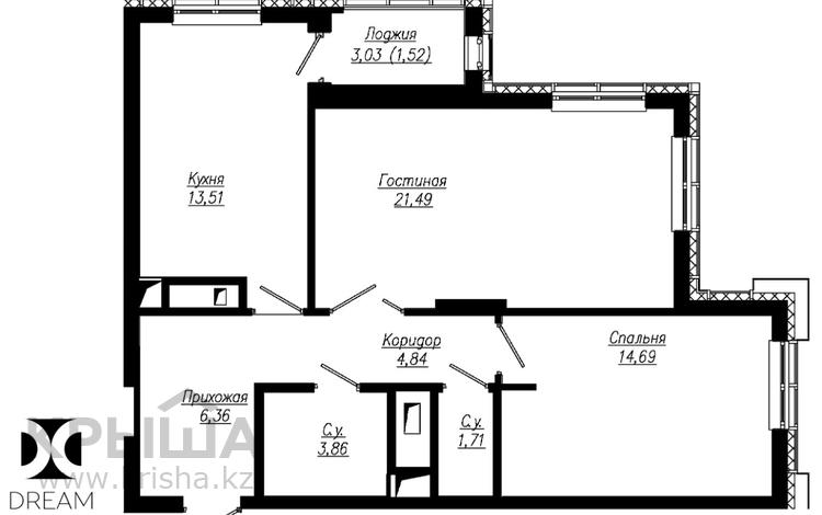 2-комнатная квартира, 69.09 м², 5/18 этаж, Мангилик Ел 49 за ~ 27 млн 〒 в Нур-Султане (Астана)