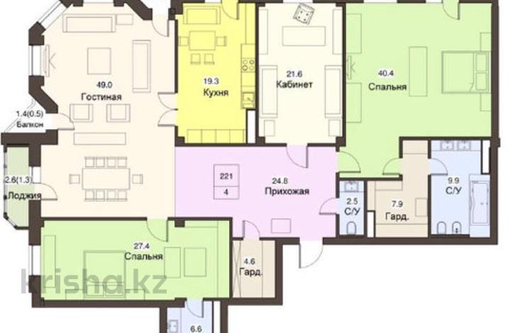 4-комнатная квартира, 221 м², 5/9 этаж, Тауельсыздик за 182 млн 〒 в Нур-Султане (Астана), Алматы р-н
