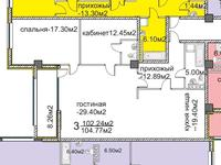 3-комнатная квартира, 103 м², 12/13 этаж