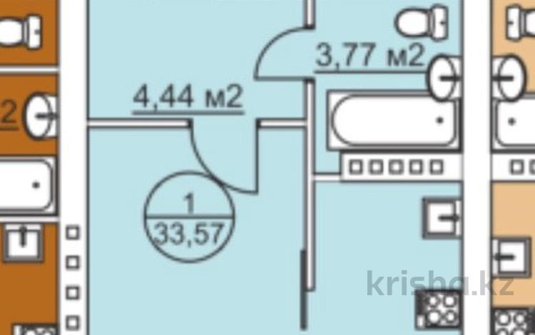 1-комнатная квартира, 33.57 м², 5/6 эт., Гагарина — Авиационная за 7.2 млн ₸ в Костанае