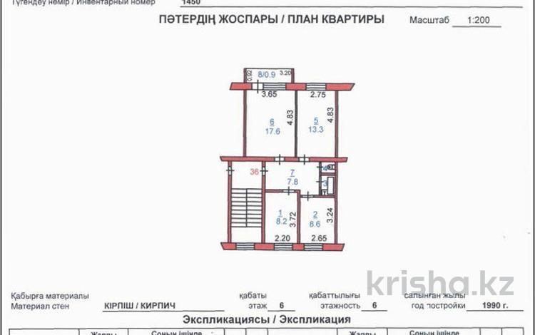 3-комнатная квартира, 60.1 м², 6/6 этаж, Баймагамбетова 3А за 11.5 млн 〒 в Костанае
