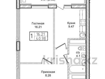 1-комнатная квартира, 40.98 м², 17/18 этаж, Ахмета Байтурсынова — А62 за ~ 8.4 млн 〒 в Нур-Султане (Астана), Алматинский р-н