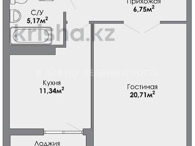 1-комнатная квартира, 45.56 м², 8/8 этаж, Розыбакиева — Ескараева за ~ 23.9 млн 〒 в Алматы, Бостандыкский р-н