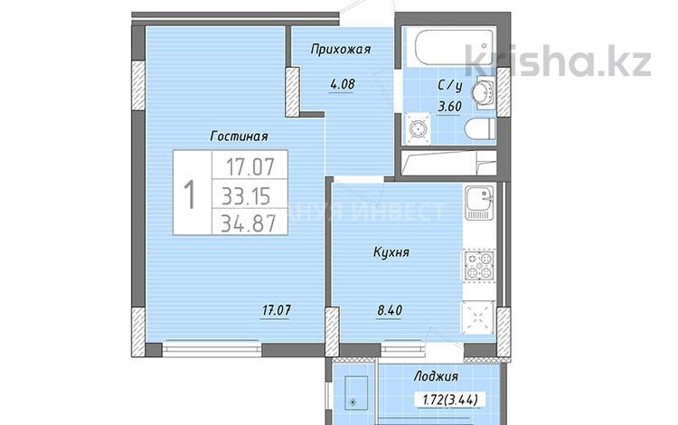 1-комнатная квартира, 34.87 м², 5/9 этаж, Бухар жырау — Алихана Бокейханова за ~ 9.4 млн 〒 в Нур-Султане (Астана), Есиль р-н