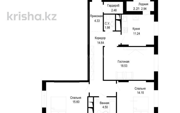 3-комнатная квартира, 93.27 м², проспект Туран — Ханов Керея и Жанибека за ~ 24.7 млн 〒 в Нур-Султане (Астана), Есиль р-н