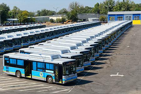 Новости: Автобусный парк Алматы пополнился сотней новыхмашин