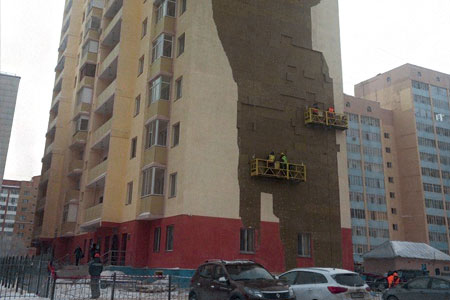 Новости: Астана: с новостройки сорвало облицовку (фото, видео)