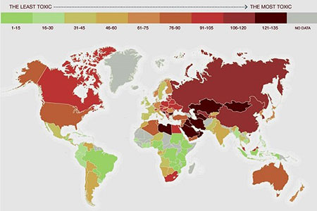 Новости: Казахстан вошёл в десятку самых токсичных стран мира