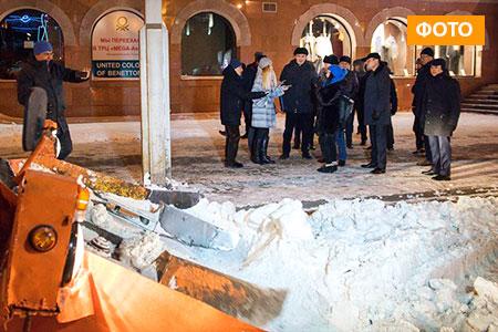 Новости: Исекешев лично присутствовал при уборке снега смагистралей