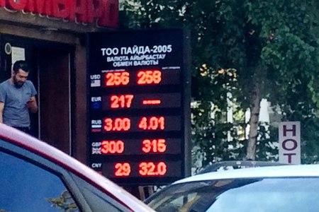 Новости: Курс доллара превысил 255 тенге