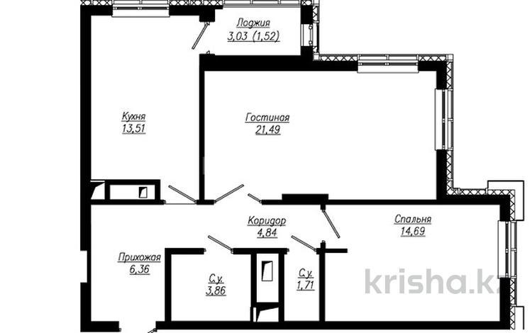 2-комнатная квартира, 69.09 м², 5 этаж, проспект Мангилик Ел — Бухар жырау за ~ 27 млн 〒 в Нур-Султане (Астана), Есиль р-н