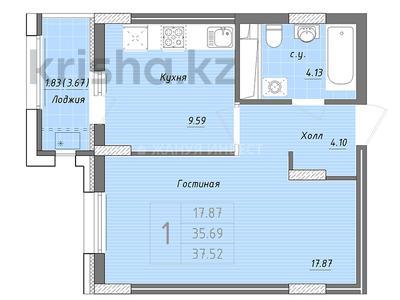 1-комнатная квартира, 37.52 м², 4/9 этаж, Бухар жырау — Алихана Бокейханова за ~ 10.5 млн 〒 в Нур-Султане (Астана), Есиль р-н