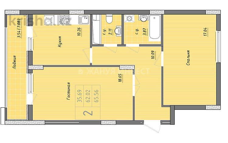 2-комнатная квартира, 65.56 м², 5/10 этаж, Бухар жырау — Алихана Бокейханова за ~ 16.4 млн 〒 в Нур-Султане (Астана), Есильский р-н