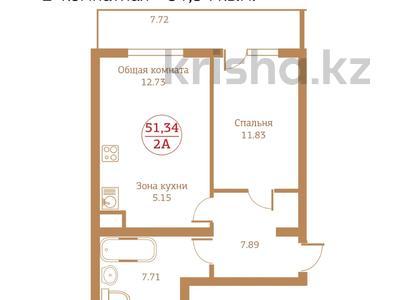 2-комнатная квартира, 51.34 м², 3/12 этаж, Досмухамедова — Жамбыла за ~ 23.1 млн 〒 в Алматы, Алмалинский р-н — фото 2
