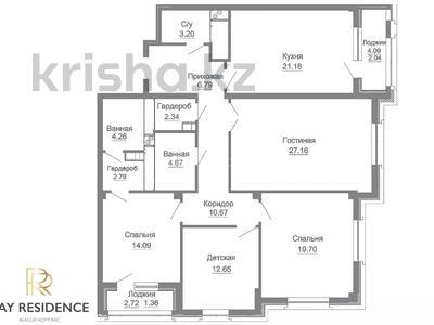 4-комнатная квартира, 134.61 м², 21/22 этаж, Достык 3 за ~ 61.2 млн 〒 в Нур-Султане (Астана), Есиль р-н