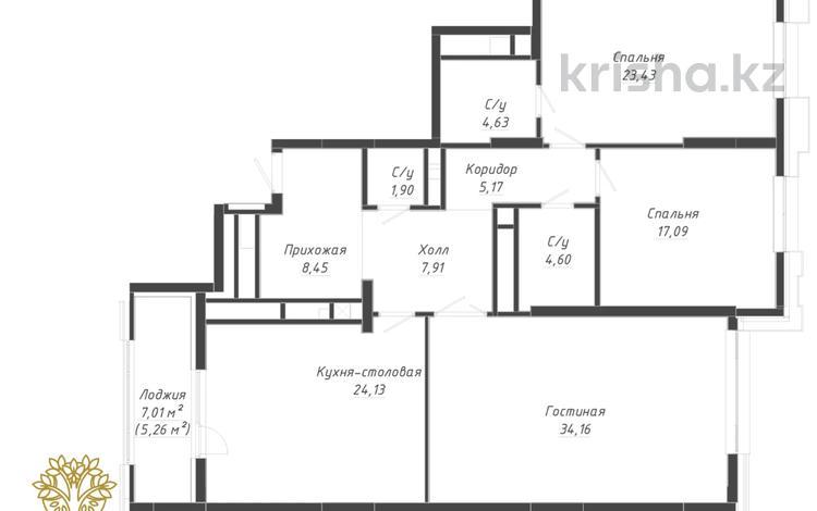 3-комнатная квартира, 139.7 м², 2/12 этаж, Сауран 34 за ~ 64.6 млн 〒 в Нур-Султане (Астана), Есиль р-н