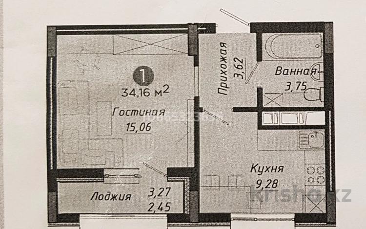 1-комнатная квартира, 34.16 м², 7 этаж, Рыскулбекова 29 за 13 млн 〒 в Нур-Султане (Астане), Алматы р-н