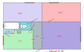 3-комнатная квартира, 51 м², 1/2 этаж, Дулатова 53А за 15 млн 〒 в Алматы, Турксибский р-н