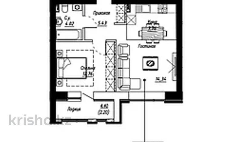 2-комнатная квартира, 46.51 м², 6/10 этаж, Чингиза Айтматова — Кайыма Мухамедханова за ~ 15.2 млн 〒 в Нур-Султане (Астана), Есиль р-н