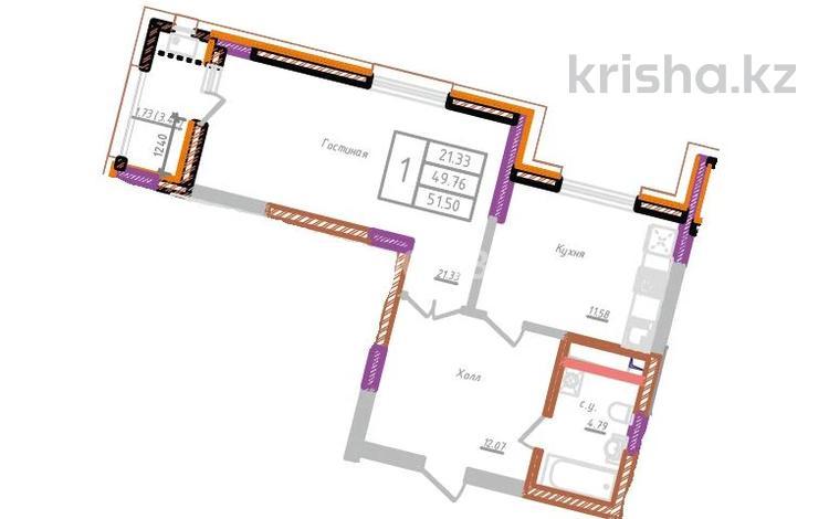 1-комнатная квартира, 51.5 м², 10/10 этаж, Бухар жырау 34 за ~ 14.9 млн 〒 в Нур-Султане (Астана), Есиль р-н
