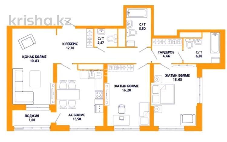 3-комнатная квартира, 103.4 м², 10/21 этаж, Акмешит 17 за 38 млн 〒 в Нур-Султане (Астана), Есиль р-н