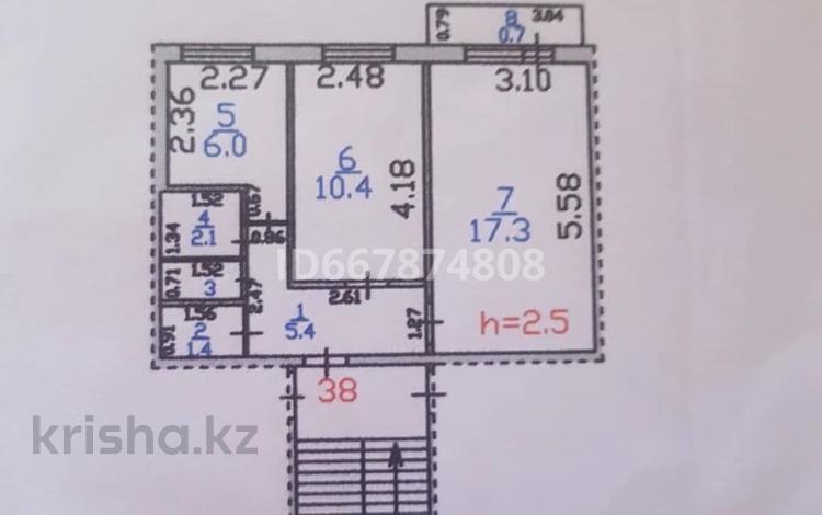2-комнатная квартира, 44.4 м², 3/5 этаж, Казахстанская 122 — 26 квартал за 7.5 млн 〒 в Шахтинске