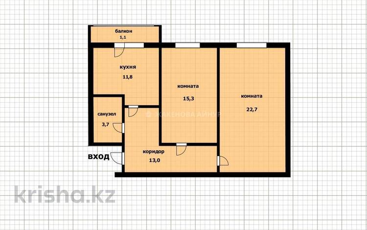 2-комнатная квартира, 68 м², 2/9 этаж, Алихана Бокейханова 17 за 22.3 млн 〒 в Нур-Султане (Астана), Есиль р-н