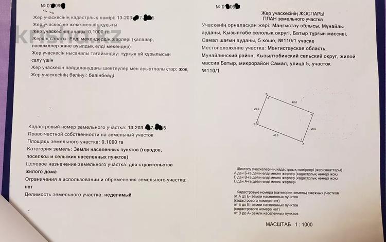 Участок 10 соток, Мкр Самал 110/1 за 1.1 млн 〒 в Батыре