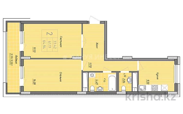 2-комнатная квартира, 65 м², 3/9 этаж, ул. Бухар жырау 34 за 19.5 млн 〒 в Нур-Султане (Астана), Есиль р-н