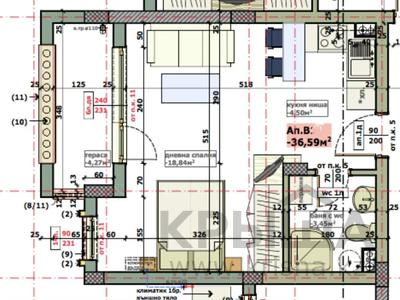 1-комнатная квартира, 42 м², 3/6 этаж, Солнечный берег. 15 за 19 млн 〒 — фото 24