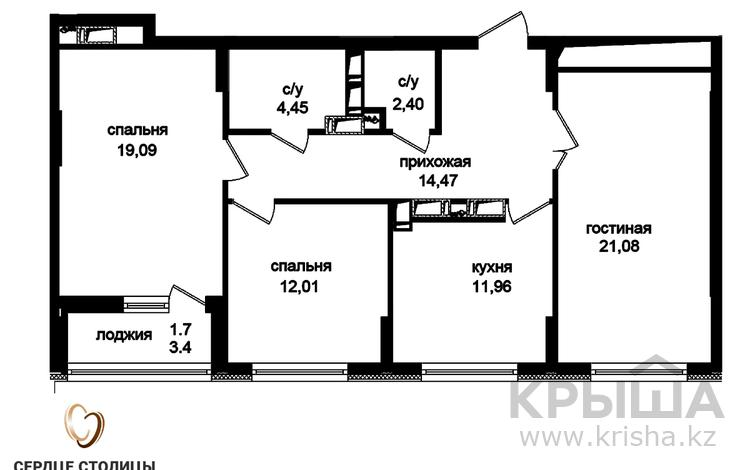 3-комнатная квартира, 88.01 м², Туран — №24 за ~ 28.3 млн 〒 в Нур-Султане (Астана), Есиль р-н