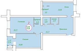 2-комнатная квартира, 81.84 м², 4/7 этаж, Байтурсынова 46/1 за ~ 23.2 млн 〒 в Нур-Султане (Астане), Алматы р-н