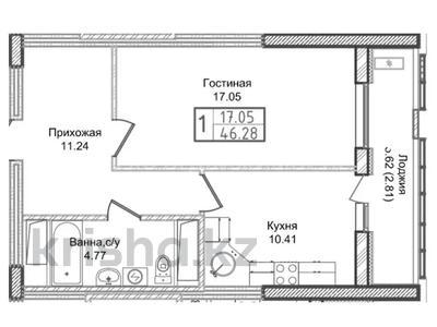 1-комнатная квартира, 46.28 м², 11/23 этаж, Ахмета Байтурсынова — 62 за ~ 10.3 млн 〒 в Нур-Султане (Астана), Алматы р-н — фото 11