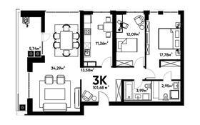 3-комнатная квартира, 100.41 м², 13/16 этаж, мкр Алмагуль, Гагарина 233 за ~ 71.3 млн 〒 в Алматы, Бостандыкский р-н