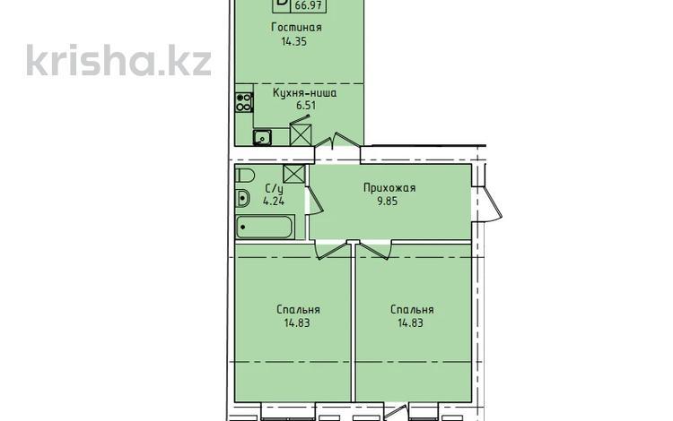 3-комнатная квартира, 66.97 м², 3/9 этаж, Наурызбай батыра 137 — Потанина за ~ 18.4 млн 〒 в Кокшетау