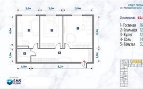 2-комнатная квартира, 62 м², 1/5 этаж, Жанаталап — Район Молокозавод за 9.3 млн 〒 в Аксае