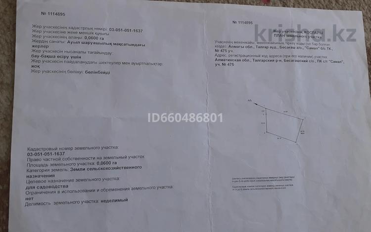Участок 6 соток, Бесагаш (Дзержинское) за 5.7 млн 〒