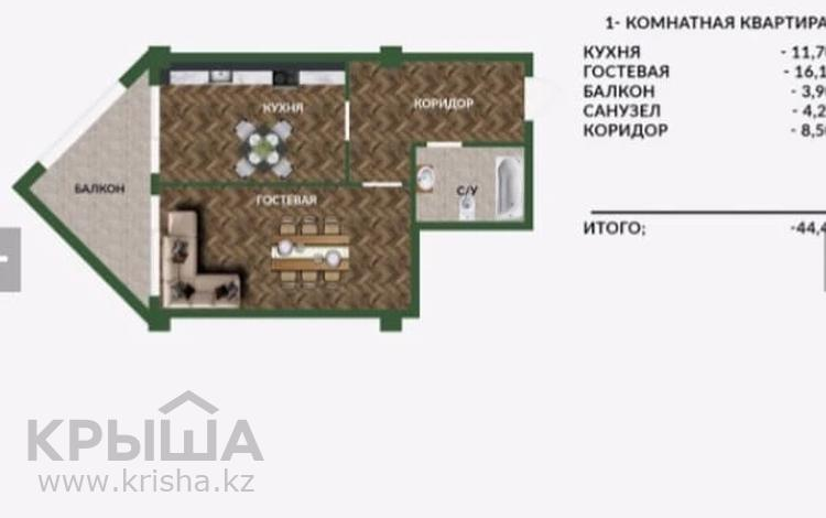 1-комнатная квартира, 44.4 м², 8/10 этаж, проспект Туран 59 за ~ 11.6 млн 〒 в Нур-Султане (Астана), Есиль р-н