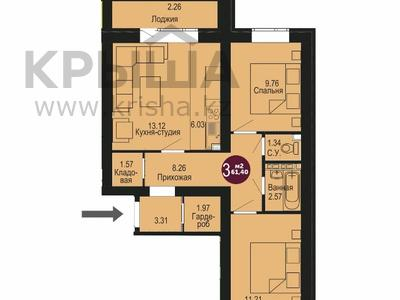 3-комнатная квартира, 61.4 м², 3/3 этаж, Уркер за ~ 9.1 млн 〒 в Нур-Султане (Астана), Есиль р-н