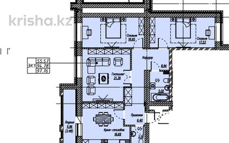 3-комнатная квартира, 97.76 м², 10/10 этаж, Айтматова — Мухамедханова за ~ 28.4 млн 〒 в Нур-Султане (Астана), Есиль р-н