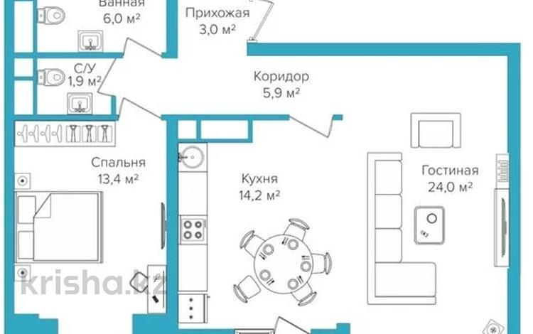 2-комнатная квартира, 69 м², 8/16 этаж, Сатпаева 90/43а за 33.5 млн 〒 в Алматы, Бостандыкский р-н