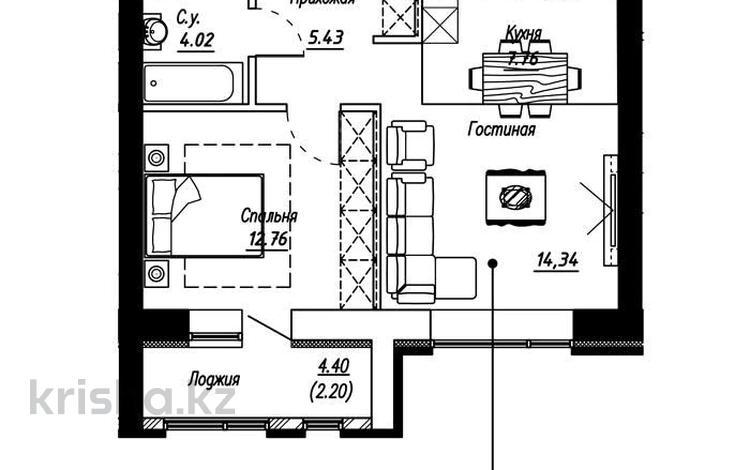 1-комнатная квартира, 46 м², 9/10 этаж, Айтматова — Мухамедханова за 14.2 млн 〒 в Нур-Султане (Астана), Есиль р-н