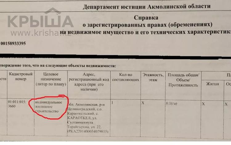 Участок 10 соток, Караоткель (Ильинка) 22 за 8 млн 〒