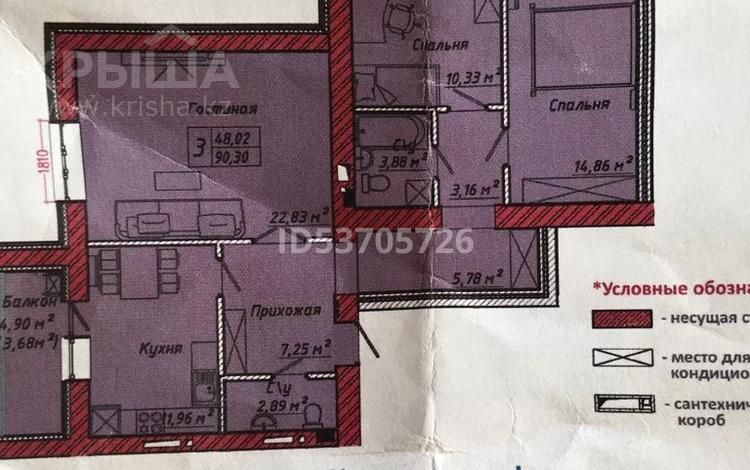 3-комнатная квартира, 92 м², 4/8 этаж, 37-я улица 356 — Улы дала за 34.5 млн 〒 в Нур-Султане (Астана), Есиль р-н