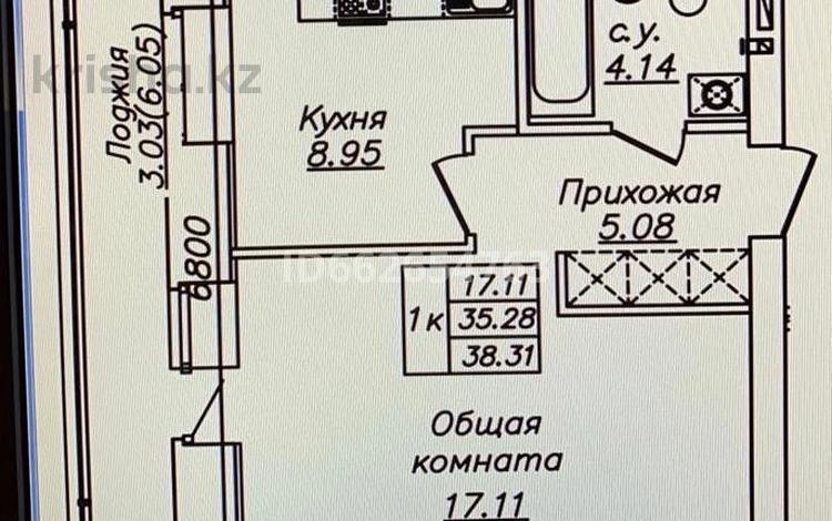 1-комнатная квартира, 38.31 м², 6/10 этаж, Мухаметханова 12 — Е-755 за 14.8 млн 〒 в Нур-Султане (Астана), Есиль р-н